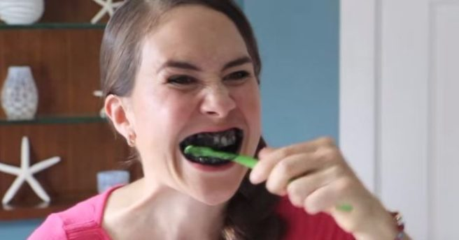 so people are brushing their teeth with charcoal and it looks nasty