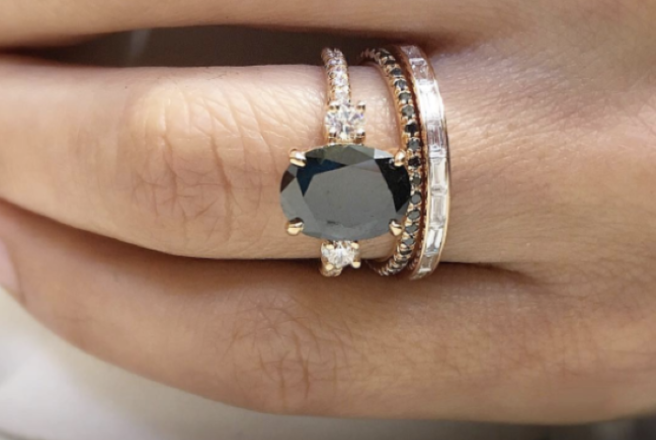 prong diamond ring buy setting side stone black engagement thin design jewellery