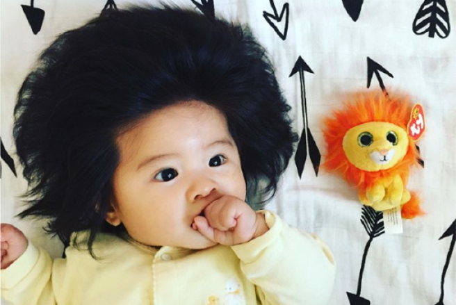 Month-Old Baby With Full Head Of Hair Becomes Internet Sensation